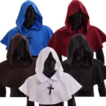 Cool Medieval Hooded Mantle Halloween Wicca Pagan Cosplay Accessory Unisex 5 Colors Vintage Cowl HatAT_93_12