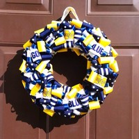 Michigan Wolverines Wreath Ribbon Front Door Football College