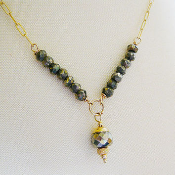 Pyrite Y Necklace, Faceted Gemstone 14kt Gold Filled, Wedding Bridal Jewelry
