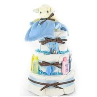 Little Lamb New Baby Boy Diaper Cake - Great Baby Shower Table Centerpiece and Gift Idea for Newborns