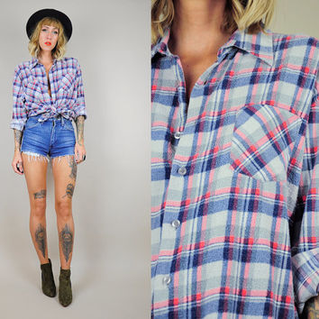 FADED 70's Plaid FLANNEL GRUNGE 80's Tartan shirt Boyfriend Raglan soft Oversized Lumberjack os