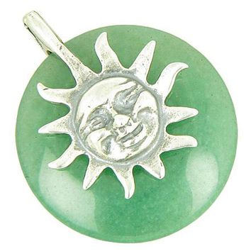 Positive Energy Happy Sun Money Amulet Aventurine Silver Pendant