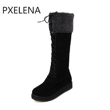 Winter Warm Faux Suede Boots Women Flat Lace Up Fur Lined Knee High Snow Boots Shoes