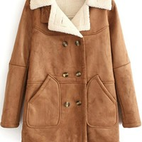 Double-breasted Suede Thick Padded Jacket,Cheap in Wendybox.com