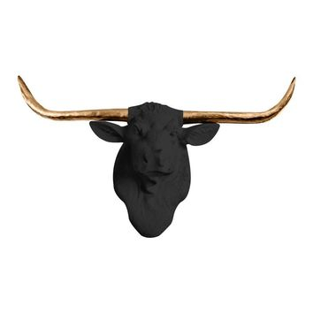 The Texas | Large Longhorn Cow Head | Faux Taxidermy | Black  + Bronze Longhorn Resin