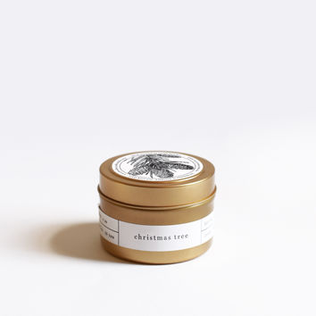 Christmas Tree Gold Travel Candle