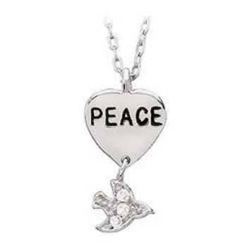 """Youth Engraved """"Peace"""" with Cubic Zirconia Dove Dangle Pendant : .925 Sterling Silver - 19.26 X"""