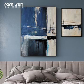 Abstract Blue Color Canvas Paintings Art Wall Pictures For Living Room Sofa Posters And Prints For Home Decor Seascape Creative
