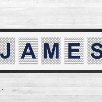 Personalized Nursery Letters, Custom Decor Prints, Gray Dots Chevron, Navy Letters, Boy Name Prints, Custom Name Art, Nursery Decor, 8x10