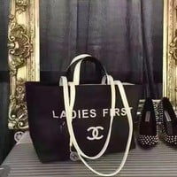 CHANEL WOMEN'S LEATHER LADIES FIRST SHOPPING BAG