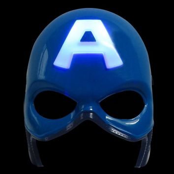 LED Glowing Super Hero Mask The Avengers Captain America  Party Cosplay Halloween Gift Action Figure Toy