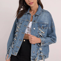 Moon River Savannah Lace Up Denim Jacket