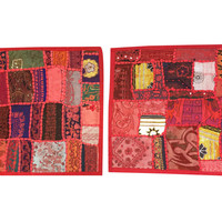 Patchwork Ethnic Cushion Cover Embroidered Handmade Red Vintage Pillow Sham
