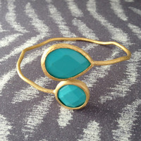 Gold and Turquoise Stone Wrap Bangle Bracelet
