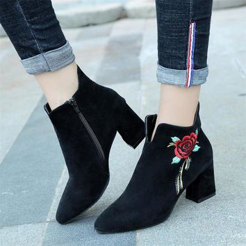 Womens Embroidered Leather Casual Mid Calf Boots High Heel Shoes Woman Autumn Winter Boots Women botas ug australia mujer