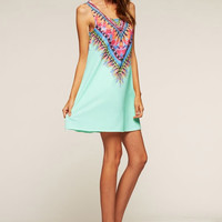 Tribal Print Sleeveless Dress - Mint