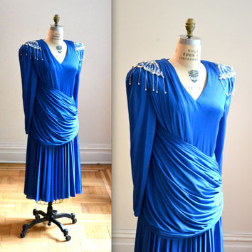 70s Vintage Blue Sequin Dress Party Dress Size Medium Large// 80s Party Dress size Medium Large