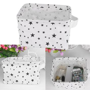 "Square Small Foldable Linen & Cotton Storage Basket Organizer Star Pattern for Jewelry Stationery Toy Key Book(20*12.5*16.5cm/7.9*4.9*6.5"")"