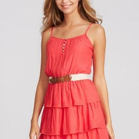 Button Tiered Strappy Dress