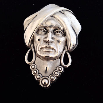 Silverman Sterling Silver Gypsy Head Brooch - Vintage 40s Jewelry - lady face - old woman - turban signed - wise fortune teller man head
