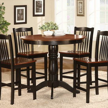 Home Elegance 2458-36 5 pc wayland collection antique oak and black finish wood round counter height dining table set with wood seats