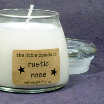 Rustic Rose Soy Candle Jar - Hand Poured and Highly Scented Container Candles