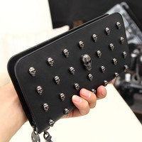 High Quality Skull Wallet Personality Clutch Bags Rivets PU Leather Purse Zipper Card Holder Punk Wallets