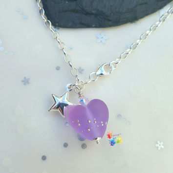 Sterling Silver Bracelet, Purple Heart Charm, Star Charm, purple heart, lavender, charm bracelet, sea glass, matt, frosted