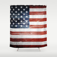 American flag Shower Curtain by Nicklas Gustafsson