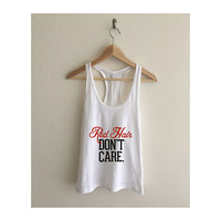 Red Hair Don't Care Fine Jersey Athletic Racerback Tank Top