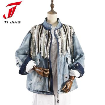 Denim Jacket Women Jacket Coats bling Sequins Long Sleeves Blue Vintage Boho Hippie Chic Jacket Holes Washed Denim B5076
