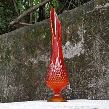 Mid Century Viking Art Glass Orange Hobnail Stretch Vase