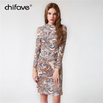 Women Dress Casual Turtleneck Bodycon Dress Long Sleeve Spring Sexy Slim Floral Print Dresses Plus Size chifave
