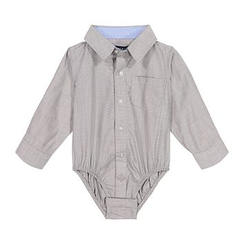 Infant Boy Grey Chambray Button-down