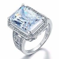 Romantic Fire 8.5CT Emerald Cut Halo Ring