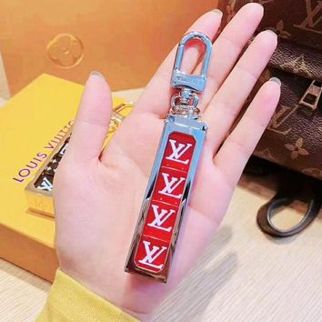 LV joint name Supreme tide brand men and women models high quality fashion beautiful keychain Silver+red