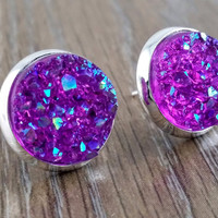Druzy earrings- ab chunky purple drusy silver tone stud druzy earrings