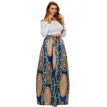 Fall 2017 Fashion Vintage Midi Skirts High Waist African Style Print Long Skirts Female Floor Length Fashion Party Skirt