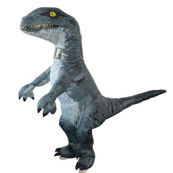 Cool Jurassic World 2 Park Hot Adult Inflatable Velociraptor Costume Cosplay Dinosaur T REX Costume Halloween Costumes For Women MenAT_93_12