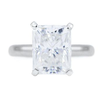 **NEW** Radiant First Crush FAB Moissanite 4 Prongs FANCY Solitaire Ring