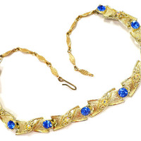 1960s Royal Blue & AB Rhinestone Necklace, Aurora Borealis in Gold, Blue Gold Choker, Astronaut Wives Club Glam