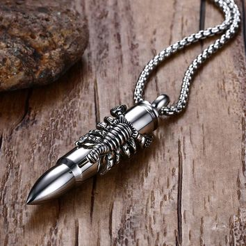 Bullet Scorpion Men Necklace Pendant Military Jewelry Stainless Steel Chain Punk Boyfriend Gift
