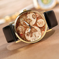 world map Watch, Fashion Wrist Watch Artificial Leather Watch Retro Style Women's Watch, men wrist watch PB060