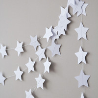 Paper garland, star garland, wedding garland, holidays decor, christmas garland, holidays garland, new year christmas decor for home white