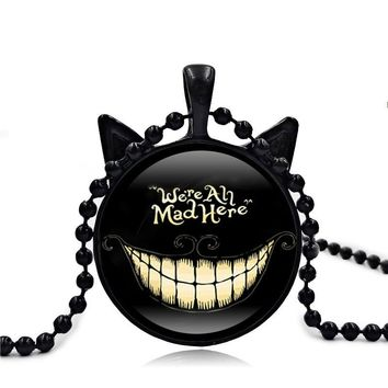 Alice In Wonderland Cheshire Cat necklaces & pendants Glass Cabochon Cat Ears Pendant Bead Chain Necklace for Women Fashion 2017