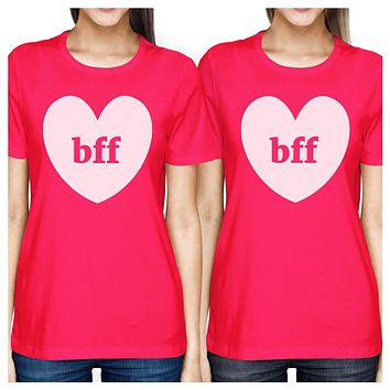 Bff Hearts BFF Matching Hot Pink Shirts
