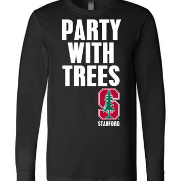 Official NCAA Stanford University Cardinal SU The Stanford Tree ALL RIGHT NOW! Party With Trees Long Sleeve T-Shirt - stan1012