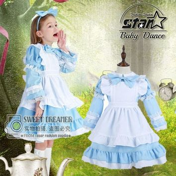 Girl Japanese Cosplay Costume Alice In Wonderland Kids Maid Coffe Shop Lolita Dress Fantasia Carnival Costumes For Kid Child
