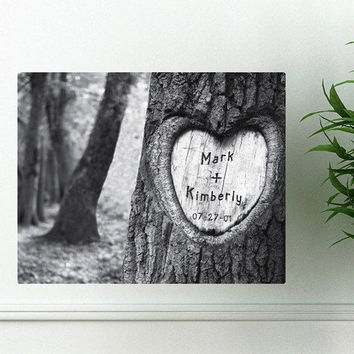 Tree of Love Canvas Print - Personalized Family Name Sign