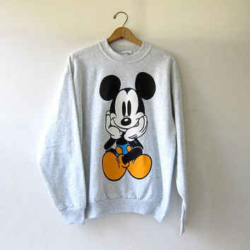 Vintage Mickey Mouse Sweatshirt. Gray Mickey Sweatshirt. Oversized Loose Fit Disney Sweatshirt